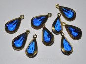 Vintage metallinfattade facetterade lucite droppar 20x10mm (1960-tal) - Royal Blue