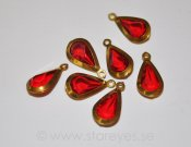 Vintage metallinfattade facetterade lucite droppar 20x10mm (1960-tal) - Lingonberry Red