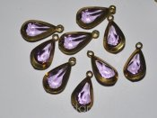 Vintage metallinfattade facetterade lucite droppar 20x10mm (1960-tal) - Lilac