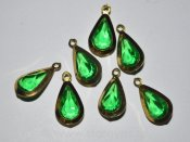 Vintage metallinfattade facetterade lucite droppar 20x10mm (1960-tal) - Green