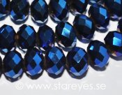 Facetterade kristall-rondeller 10x7mm - Metallic Blue