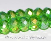 Facetterade kristall-rondeller 6x4mm - Peridot AB