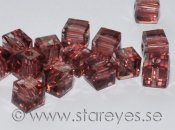 Facetterade kristall-kuber 4x4mm - Burgundy