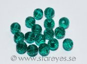 Runda facetterade disco-kristaller 6mm - Teal Green