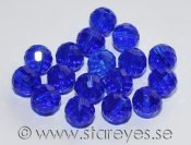 Runda facetterade disco-kristaller 8mm - Cobalt