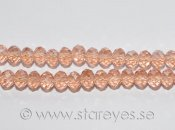 Facetterade kristall-rondeller 6x4mm - Coral Pink