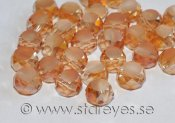 Etsade kristall-coins med facetterade kanter 8x5mm - Peach Perfect