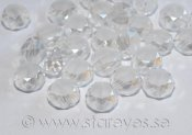 Etsade kristall-coins med facetterade kanter 8x5mm - Frosted Ice