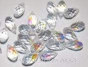 Facetterade kristall-brioletter 12x6mm - Crystal AB