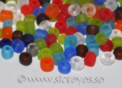 Frostade glaspärlor 'Seed beads' 4x3-5mm - Färgmix