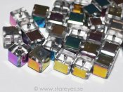 Facetterade kristall-kuber 6x6mm, Crystal Oil