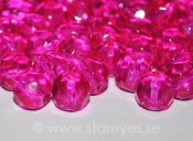 Runda facetterade kristaller 8mm, Hot Pink