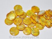 "Mother of Pearl ""Golden Yellow"", stora coins 20mm"