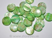 "Mother of Pearl ""Golden Lime"", stora coins 20mm"