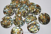 "Mother of Pearl ""Stones"", handskurna coins 30mm"