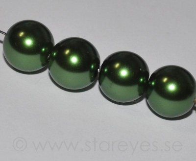 Faux pearl i glas 12mm - Olive Green