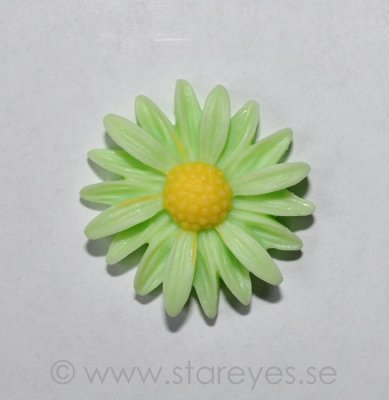 Solros flatback i resin 26mm - Light Green