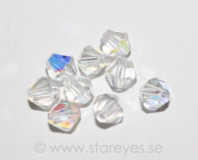 Bicone facetterade kristaller 6mm - Crystal AB