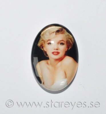 Altered art cabochon i glas 25x18mm - Marilyn
