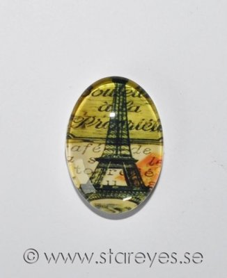Altered art cabochon i glas 25x18mm - Paris