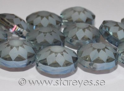 Facetterade diskformade kristaller med etsat mönster 18x10mm - Misty Grey