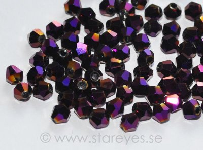 Bicone facetterade kristaller 4mm - Purple Metallic