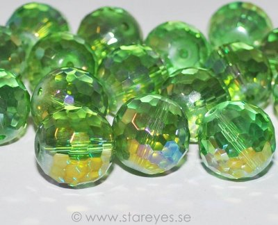 Runda facetterade disco-kristaller 17mm - Chrysolite AB