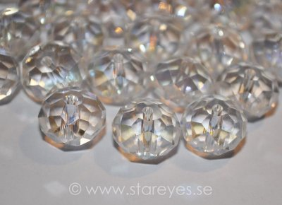 Facetterade kristall-rondeller 12x8mm - Crystal AB