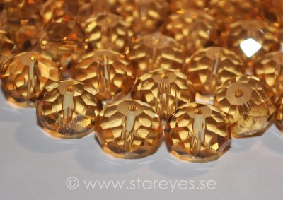 Facetterade kristall-rondeller 12x8mm - Golden Sunshine