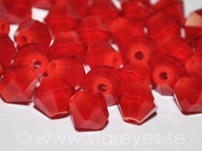 Bicone facetterade kristaller 6mm - Opaque Red Coral