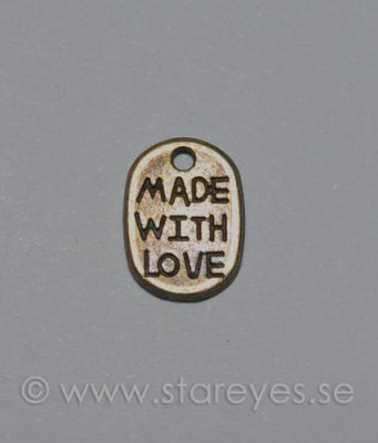 Antikbronsfärgad berlock 11x8mm - 'Made with love'